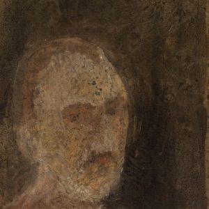 1987: Selbstporträt | Mischtechnik auf altem Papier (40,7 x 26,1 cm)