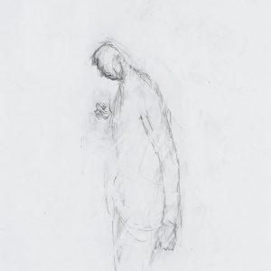1992: Selbstporträt | Bleistift auf Papier (48 x 33 cm)