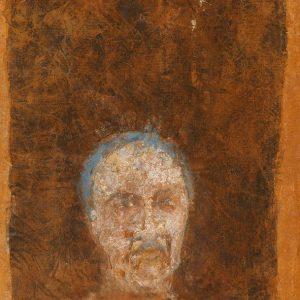 1988: Selbstporträt | Mischtechnik auf altem Papier (29 x 20,1 cm)