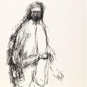 1993: Selbstporträt | Tusche auf Papier (29,6 x 21 cm)