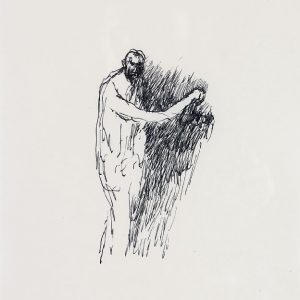 1993: Selbstporträt | Tusche auf Papier (37,3 x 31 cm)