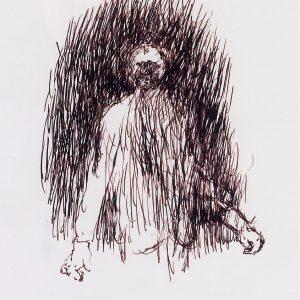 1994: Selbstporträt | Braune Tinte auf Papier (40 x 30 cm)