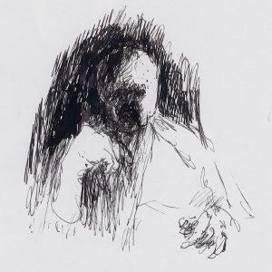 1994: Selbstporträt | Tusche auf Papier (40 x 30 cm)