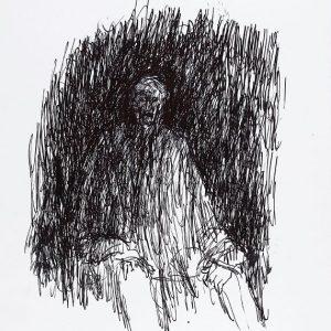 1994: Selbstporträt | Tusche auf Papier (47,9 x 35,9 cm)