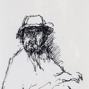 1994: Selbstporträt | Tusche auf Papier (29,5 x 19,8 cm)