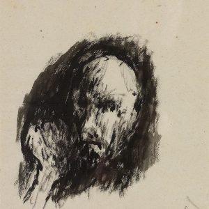 1996: Selbstporträt | Tusche auf Papier (37,5 x 31,5 cm)