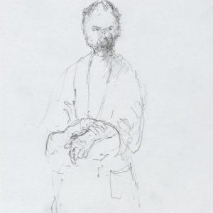 1989: Selbstporträt | Bleistift auf Papier (20,2 x 17,5 cm)