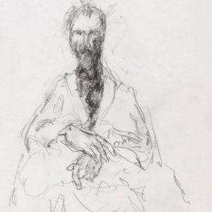 1989: Selbstporträt | Bleistift auf Papier (20,3 x 17,5 cm)