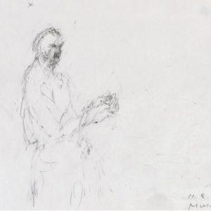 1989: Selbstporträt | Bleistift auf Papier (17,5 x 20 cm)