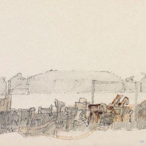1980: Canale della Giudecca | Bleistift und Buntstifte auf Papier (20,9 x 28,3 cm)