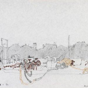 1980: Canale della Giudecca | Bleistift und Buntstifte auf Papier (21,1 x 29,3 cm)