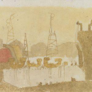 1980: Nave alle Zattere | Aquarell auf Papier (26,2 x 33,3 cm)