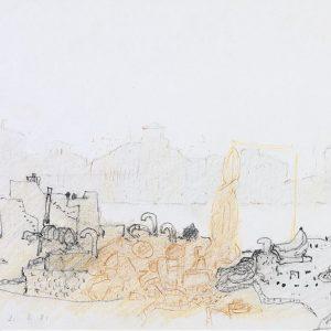 1981: Canale della Giudecca | Bleistift und Buntstifte auf Papier (20,9 x 29,6 cm)