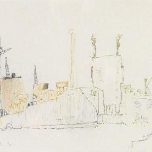 1981: Canale della Giudecca | Bleistift und Buntstifte auf Papier (21 x 29,4 cm)