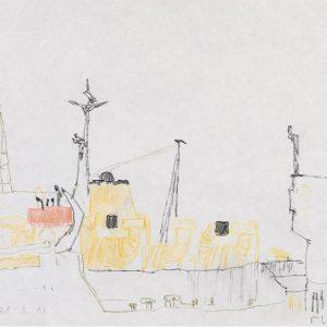 1981: Nave alle Zattere | Bleistift und Buntstifte auf Papier (21 x 29,3 cm)