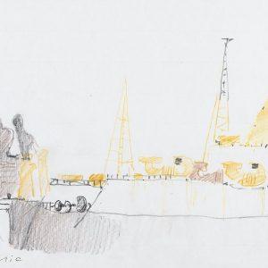 1981: Nave alle Zattere | Bleistift und Buntstifte auf Papier (21 x 29,6 cm)