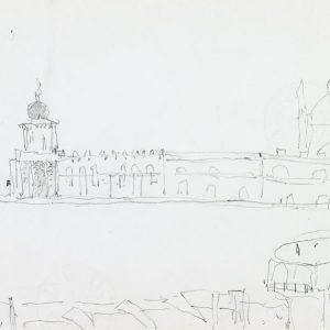 1981: Punta della Dogana | Bleistift auf Papier (21 x 29,7 cm)