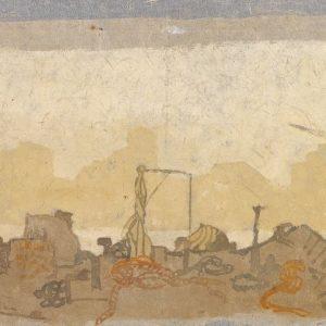 1981: Canale della Giudecca | Tempera auf Papier auf Leinwand kaschiert (27,6 x 37,5 cm cm)