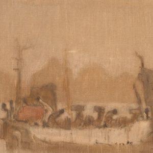 1981: Nave alle Zattere | Ol auf Leinwand (54 x 65,5 cm)