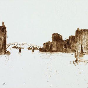 1982: Canale della Giudecca | Braune Tinte auf Papier (21 x 29,7 cm)