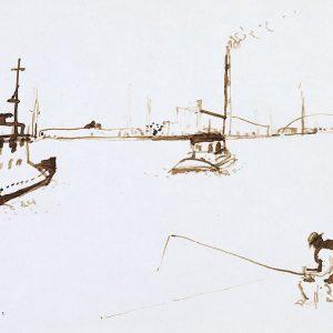 1982: Canale della Giudecca | Braune Tinte auf Papier (20,9 x 29,6 cm)