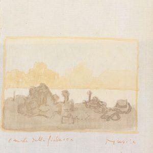 1980/81: Punta della Dogana | Aquarell und Gouache auf Papier auf Leinwand kaschiert (21,5 x 33,1 cm)
