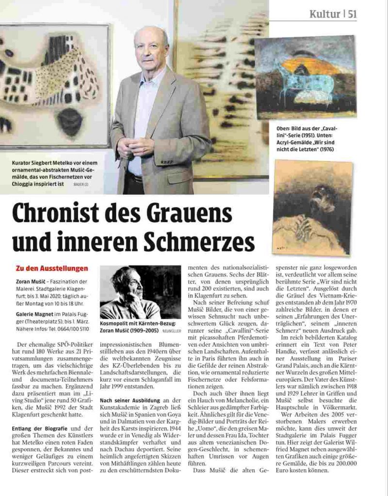 Zoran Music v Celovcu - Siegbert Metelko v Kleine Zeitungu